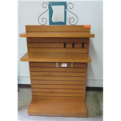 "Wooden Gondola Shelving Display Unit (takes pegs or slide-in shelves) (base 36""x27) 52""H"