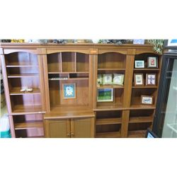 """Wooden Shelving & Cabinet System (4 sections) - 101.5""""W x 20""""D x 72.5""""H Overall"""