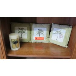 Decorative Miniature Palm Tree Pillows (3pc) & Palm Tree Candle