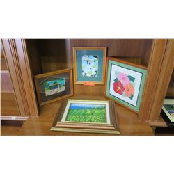 "Framed Art: Hawaii Themed Art (4pcs) - Pineapple Fields is Original, Largest is 15"" x 13"""
