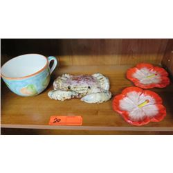 Decorative Ceramic Crab Figurine, Coffee Cup, Hibiscus Plates (4 pcs)