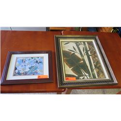 Qty 2 Framed Art: Plumeria and Bamboo Paintings