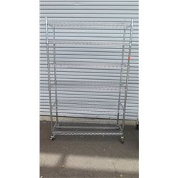 "NSF Rolling Stainless Steel Wire Shelving Unit 47.5"" x 18"" x 76""H"