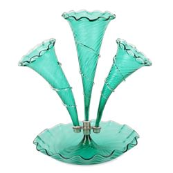Emerald Art Glass Epergne