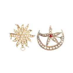 14K Gold Seed Pearl Brooches