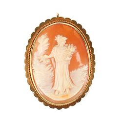 14K Gold and Shell Cameo Brooch