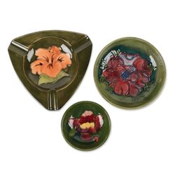 Moorcroft Pottery Bowls and Ashtray