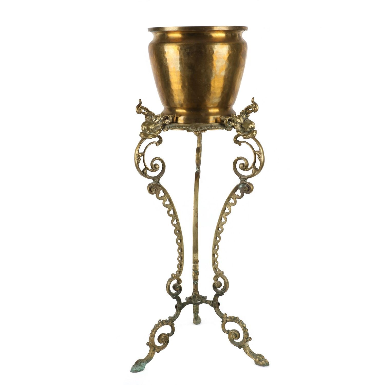 Image 1 Figural Cast Brass Plant Stand