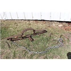 4 1/2 Wolf Antique Trap, Porcupine Plains, Fred Kozile, W/ Drag Chain And Hook