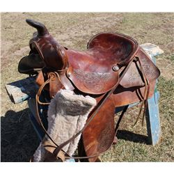 Leather Engraved Saddle 15""