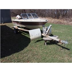 15' Saint Maurice Boat And Trailer, Johnson 60HP Motor, Fuel Tanks, Canapy, Fish Finder (1MUO3528M8)