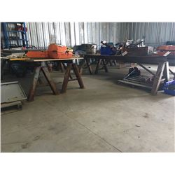 LOT OF SAW HORSES & TABLES