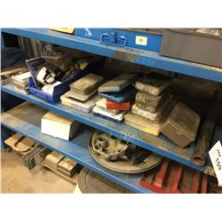 2 SHELVES OF MISC. TOOLS, PARTS AND MORE