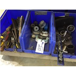 3 BLUE BINS OF ASSORTED TOOLS