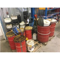 2 PALLETS OF ASSORTED GREASE, BARRELS AND MORE