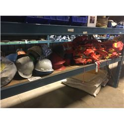 SHELF LOT OF ASSORTED HARD HATS, HIGH VIS VESTS AND MORE