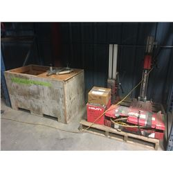 HILTI CORING UNIT WITH VACUUM PUMP, 2-14'' CORES WITH EXTENSIONS, HILTI DD-250E MOTOR…