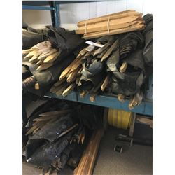 LOT OF WOODEN STAKES AND BLACK LINER