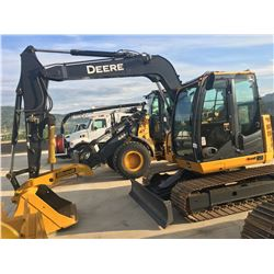 2011 JOHN DEERE 75D CRAWLER EXCAVATOR COMPLETE WITH PUSH BLADE, CLEAN UP BUCKET, HYDRAULIC THUMB,