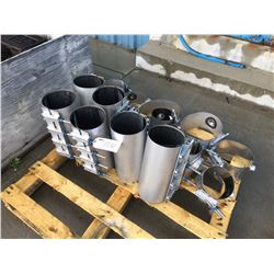 PALLET OF STAINLESS STEEL REPAIR COUPLINGS AND SERVICE BANDS