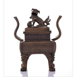 Large Antique Chinese Bronze Censor With Foo Dog