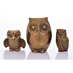 Three Vintage Brass Collectible Owls.