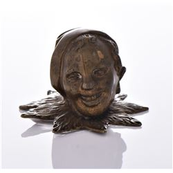 Antique Bronze Jester Head.