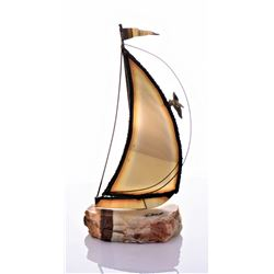 Large Mid-Century Brutalist Brass Sailboat Sculpture