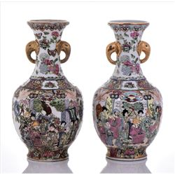 Two Vintage Chinese Famille Rose Porcelain Gold