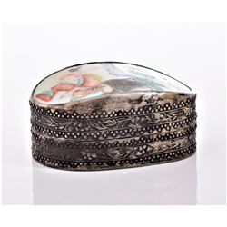 Chinese Metal Trinket Box With Antique Porcelain
