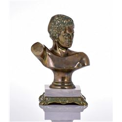 Antique Brass Bust of David Mounted On A White
