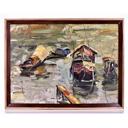 Chinese Painting of Junks At Dock, Mid Century Oil