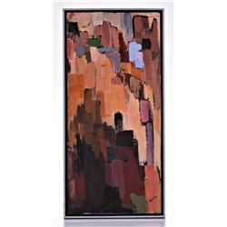 V. North Signed Oil On Canvas, Abstract City Scape