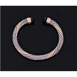 14K Gold Rod And Sterling Silver Rope Bangle With