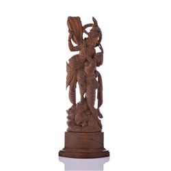 Antique Exquisitely Carved Wood Sculpture of Kamad