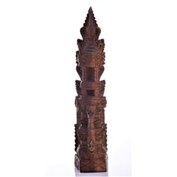 Balinese Tower Wood Carved Sculpture.