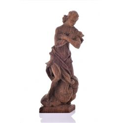 Antique Italian Wood Carved Nude Woman Covering