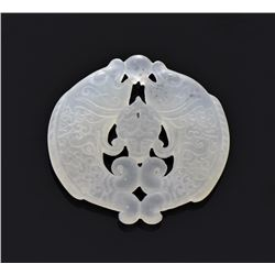 Chinese Translucent Green Jadeite Carved Double