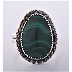 Native American Sterling Silver Malachite Rope