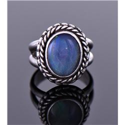 La, Blue Black Moonstone Sterling Silver Ring.