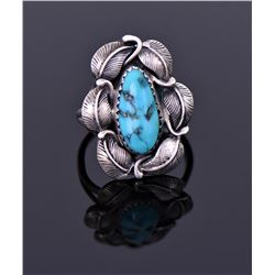 Sterling And Blue Turquoise Ring Signed E ]