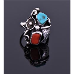 Sterling Turquoise And Red Coral Ring Signed Hl