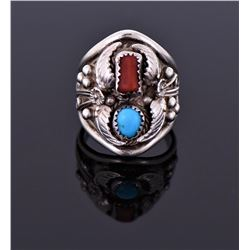 Sterling Native American And Red Coral Ring Signed
