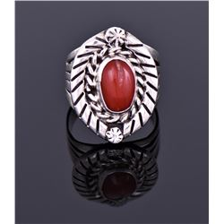 Red Coral Ring Marked Sterling