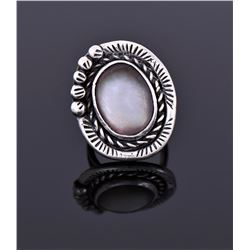 Sterling White Buffalo Ring Signed HEJ