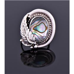 Sterling And Abalone Ring Signed Fb