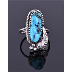 Sterling And Blue Turquoise Ring Signed L