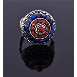 Large Sterling Red Coral And Lapis Ring