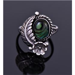 Sterling And Abalone Ring Signed STC