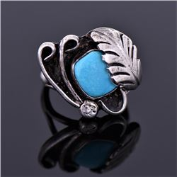 Sterling Blue Turquoise Ring Signed Ly